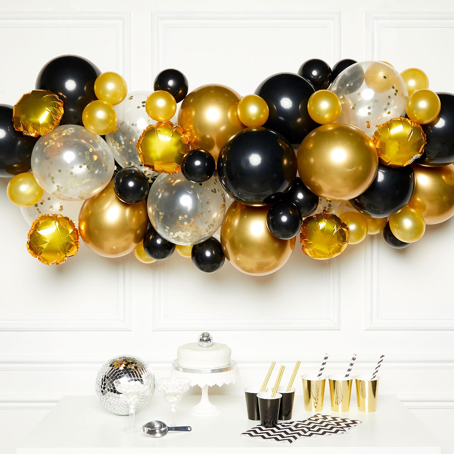 Black, Gold & Silver DIY Garland Balloon Kit