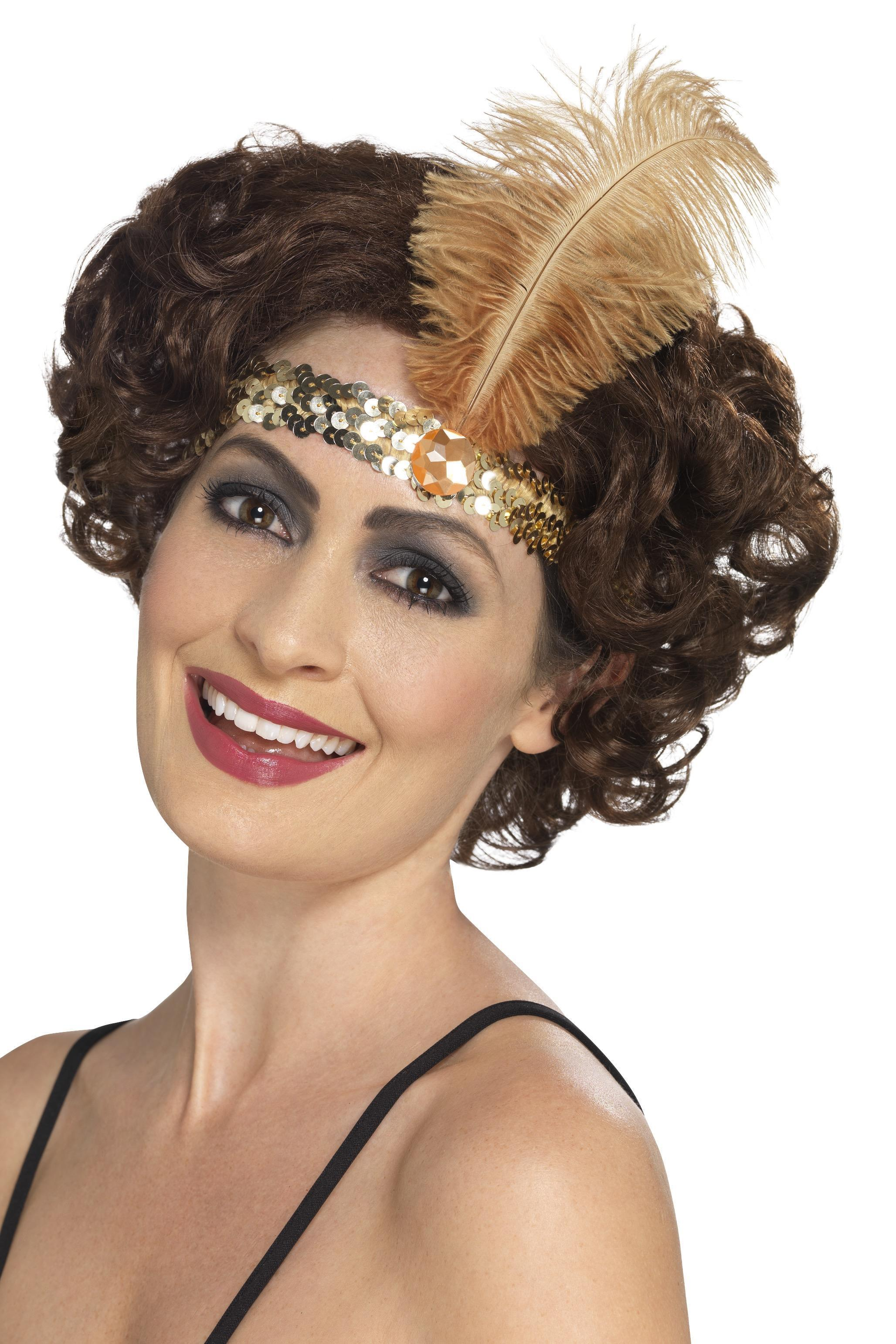 Flapper headband gold sequin