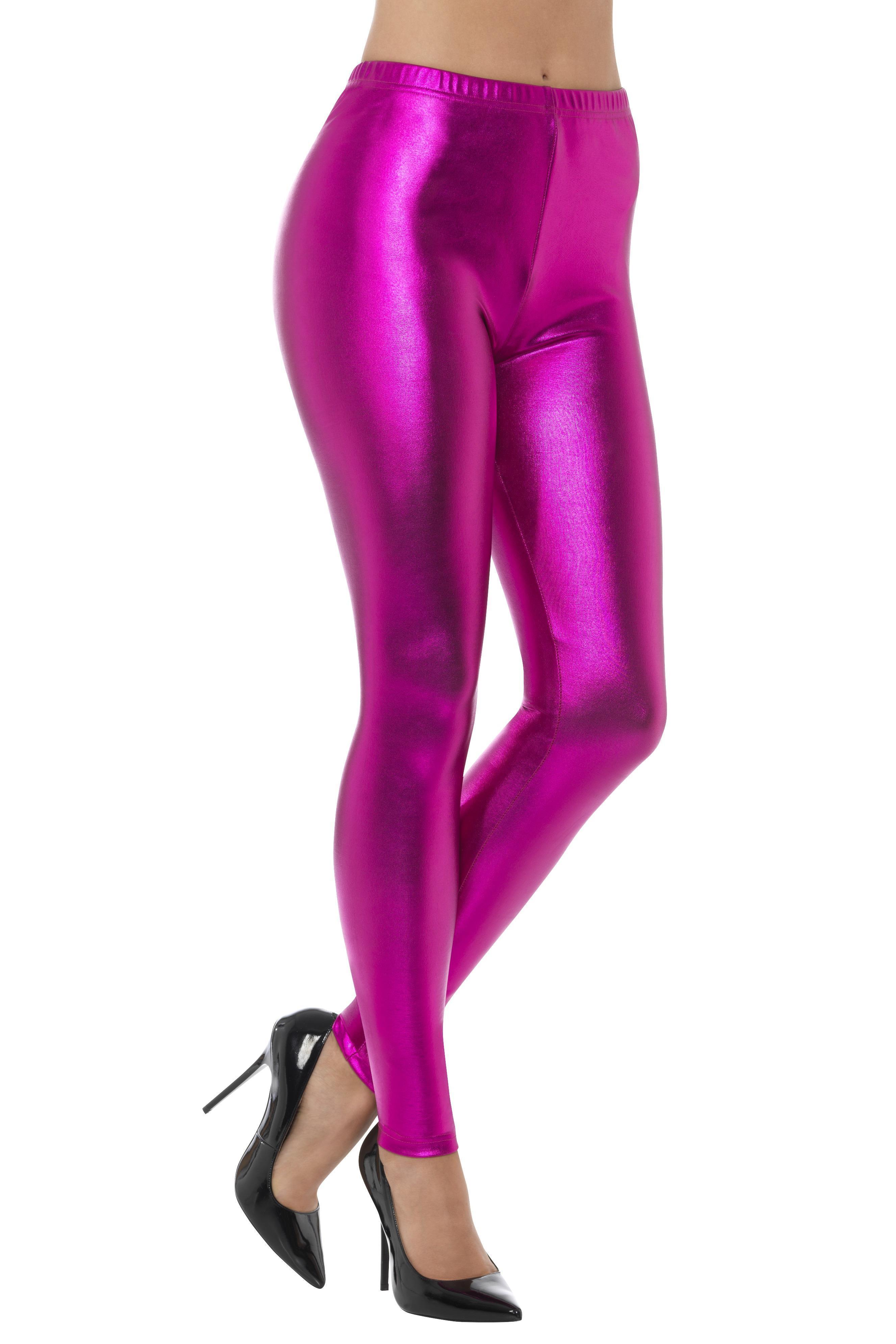 Metallic Disco Leggings Pink