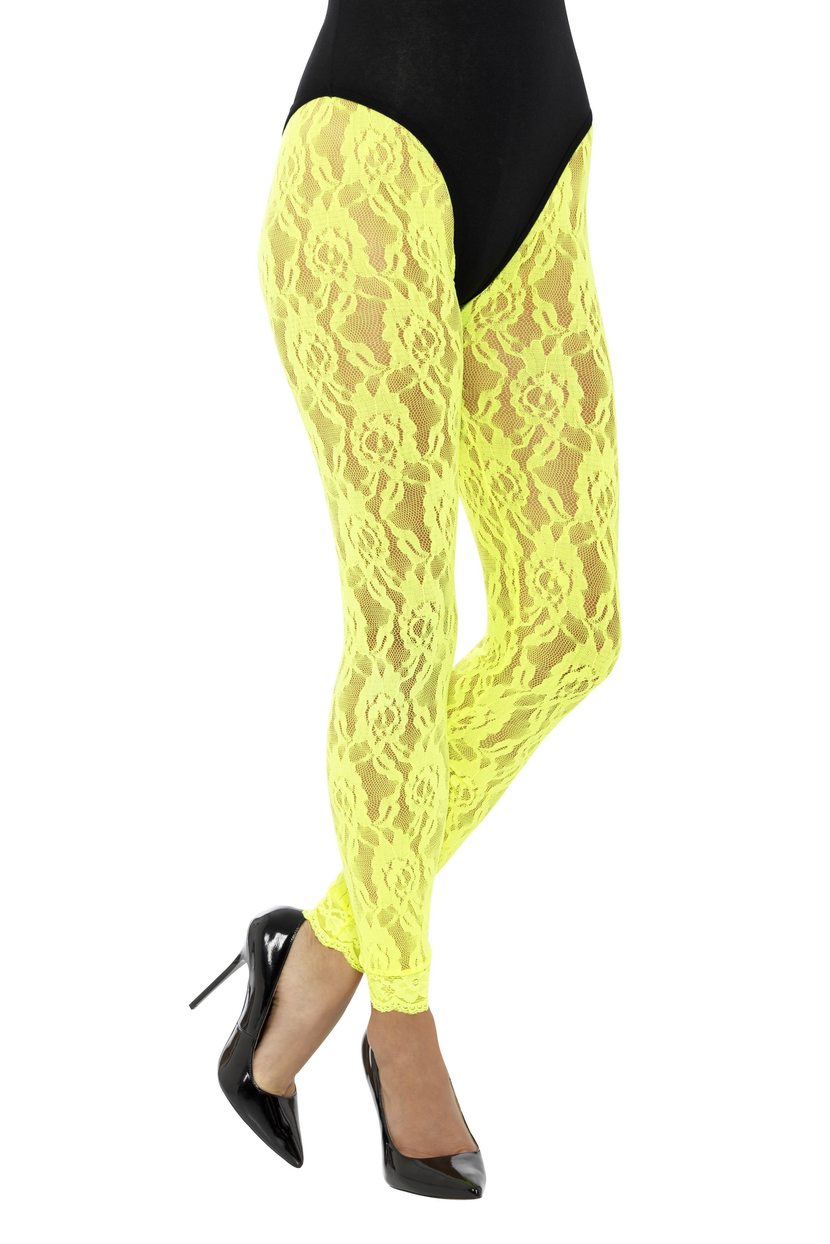 Lace Leggings Neon Yellow