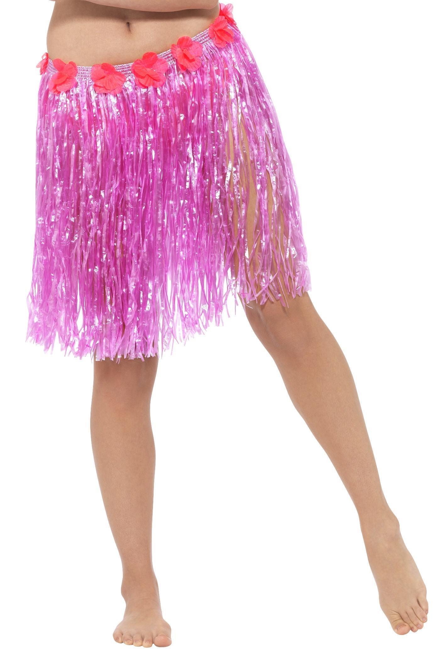 Hawaiian Hula Skirt Neon Pink