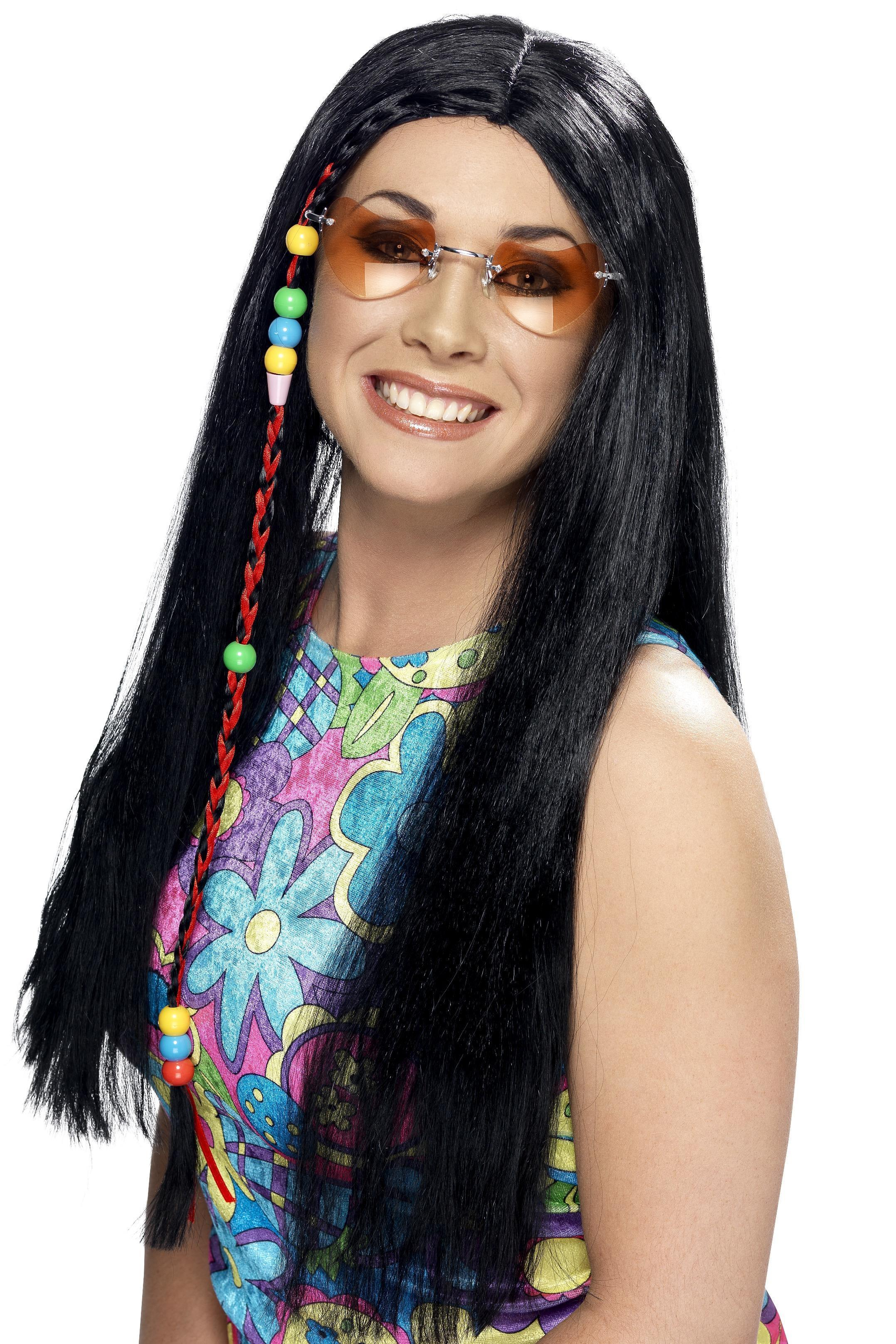 Hippy Party Wig Black