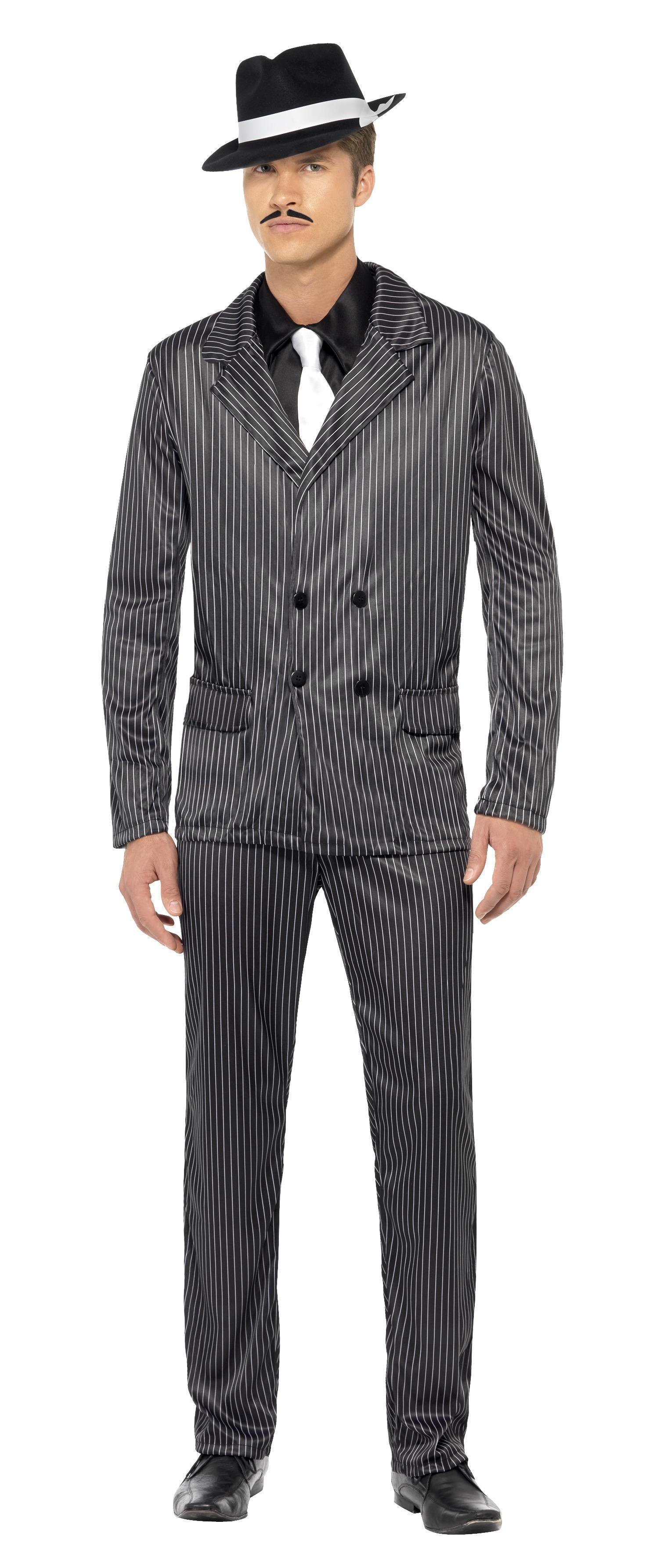 20s Gangster Costume Black Pinstripe