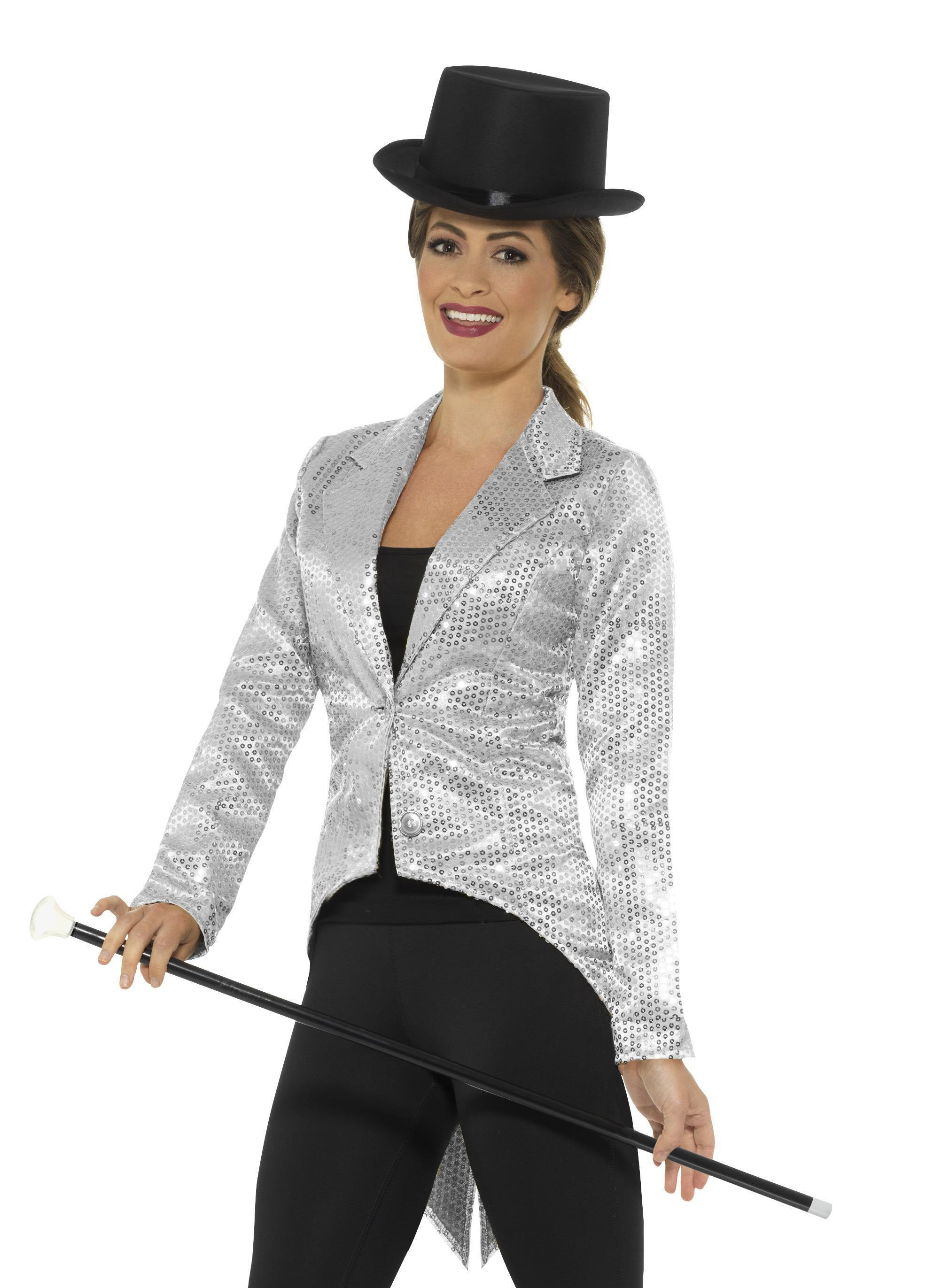 Sequin Tailcoat Jacket Ladies Silver