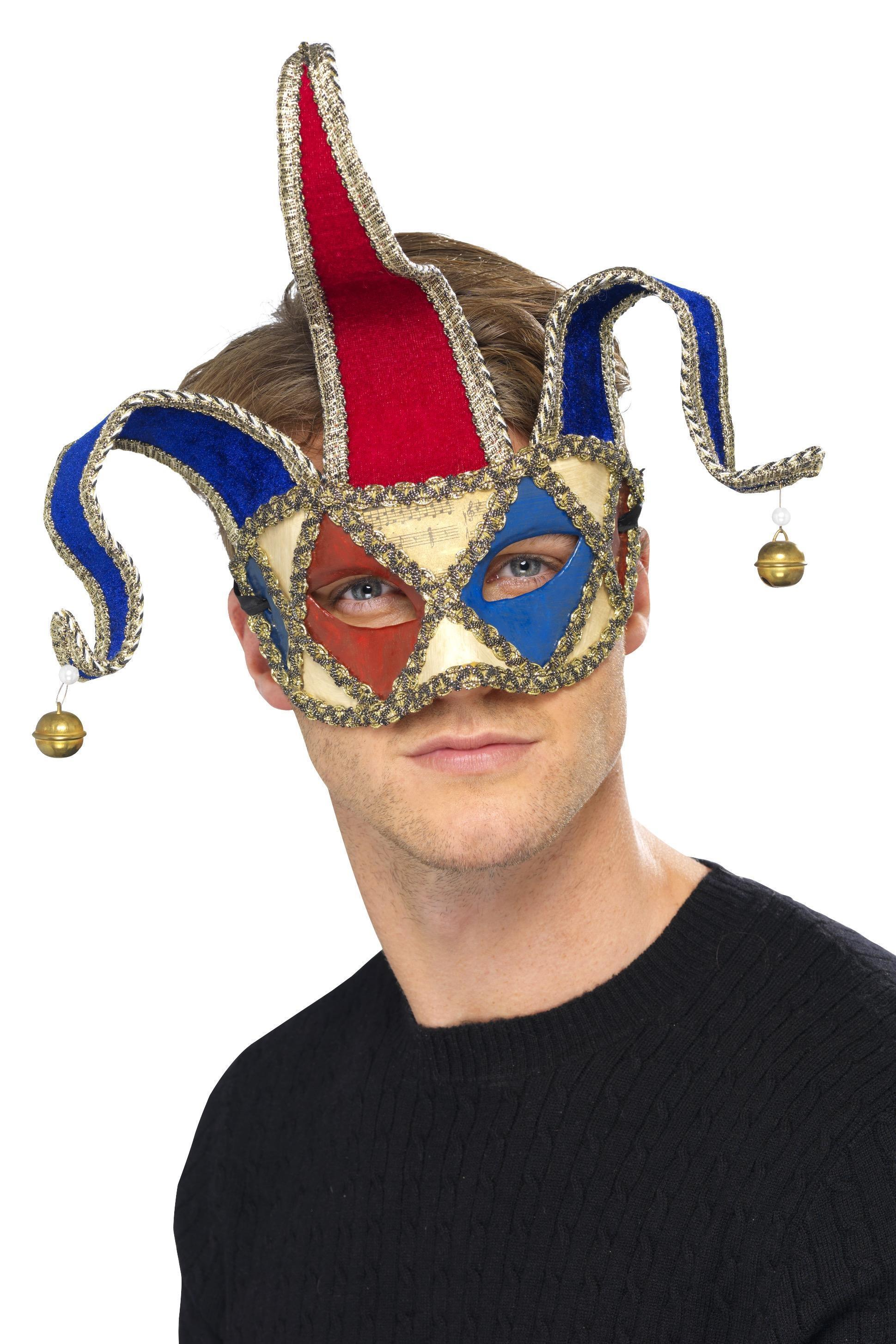 Venetian Musical Jester Eye mask Red & Blue