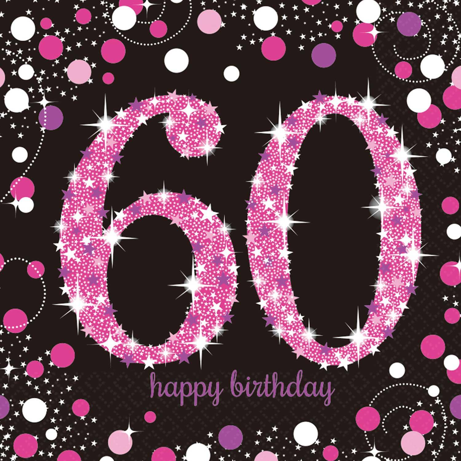 Paper Napkins 60th Birthday Pink & Silver