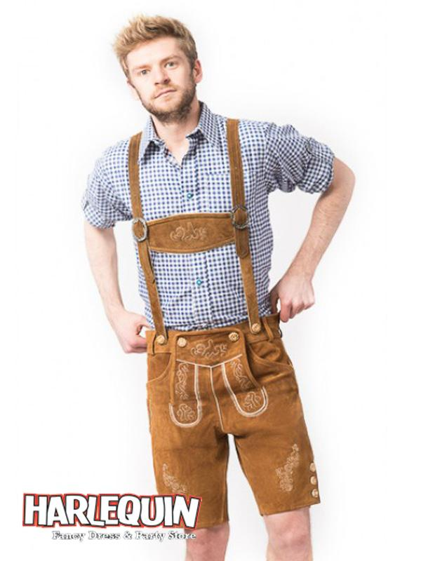Bavarian Lederhosen Hire Costume Blue