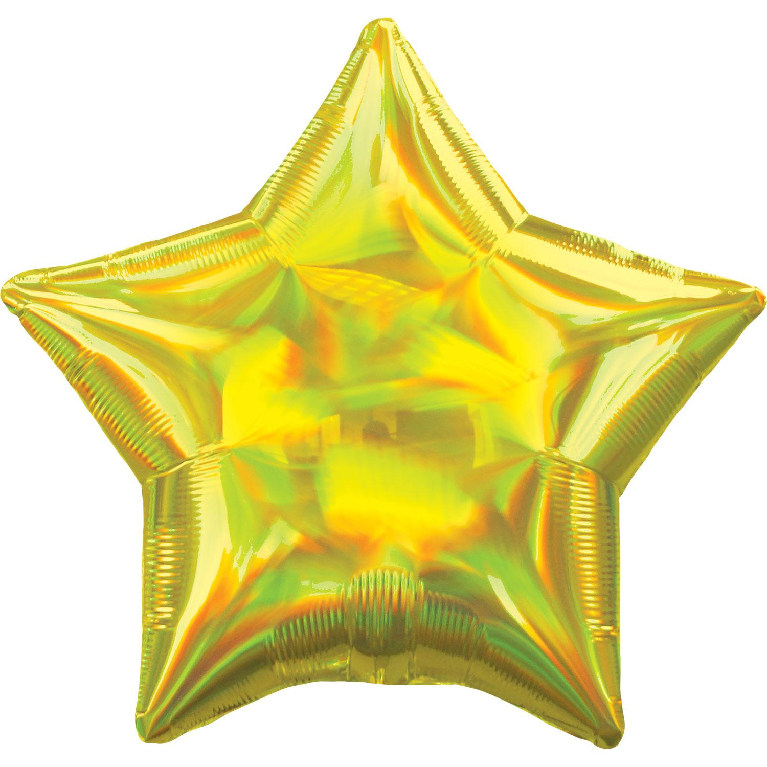 Foil Balloon Star Iridescent Yellow