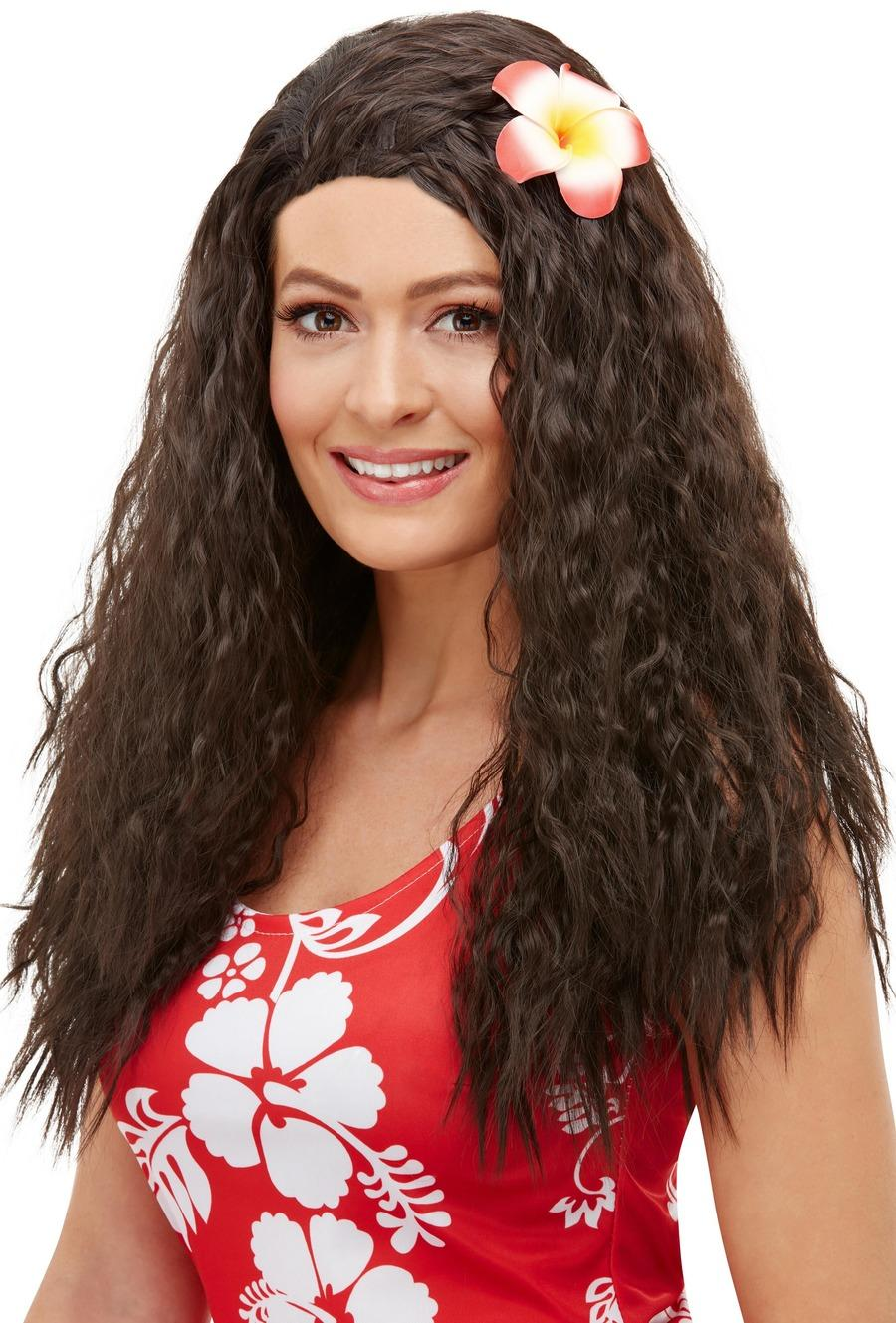 Hawaiian Wig Brown with Flower