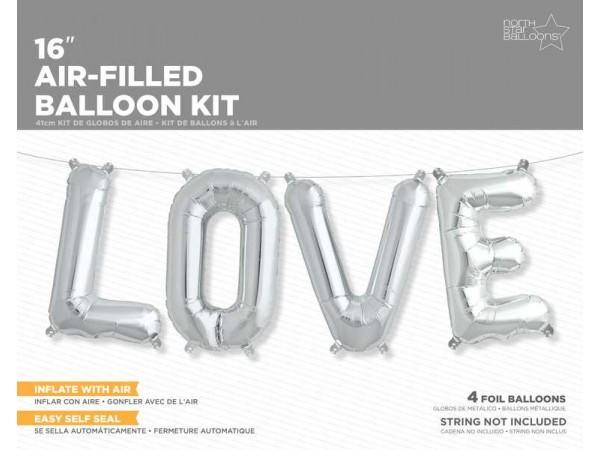 16 Inch Balloons Love Silver