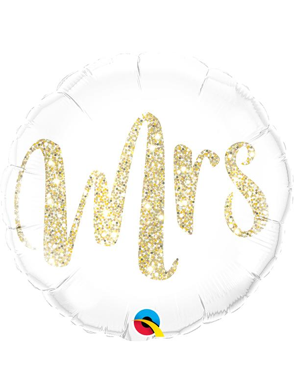 Foil Balloon Mrs. Glitter Gold