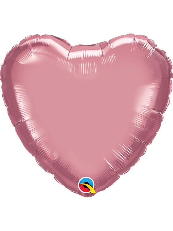 Foil Balloon Heart Chrome Mauve Pink