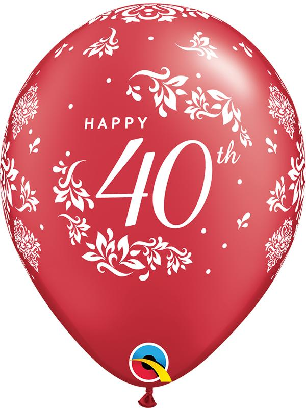 Latex Balloons 40th Anniversary Red