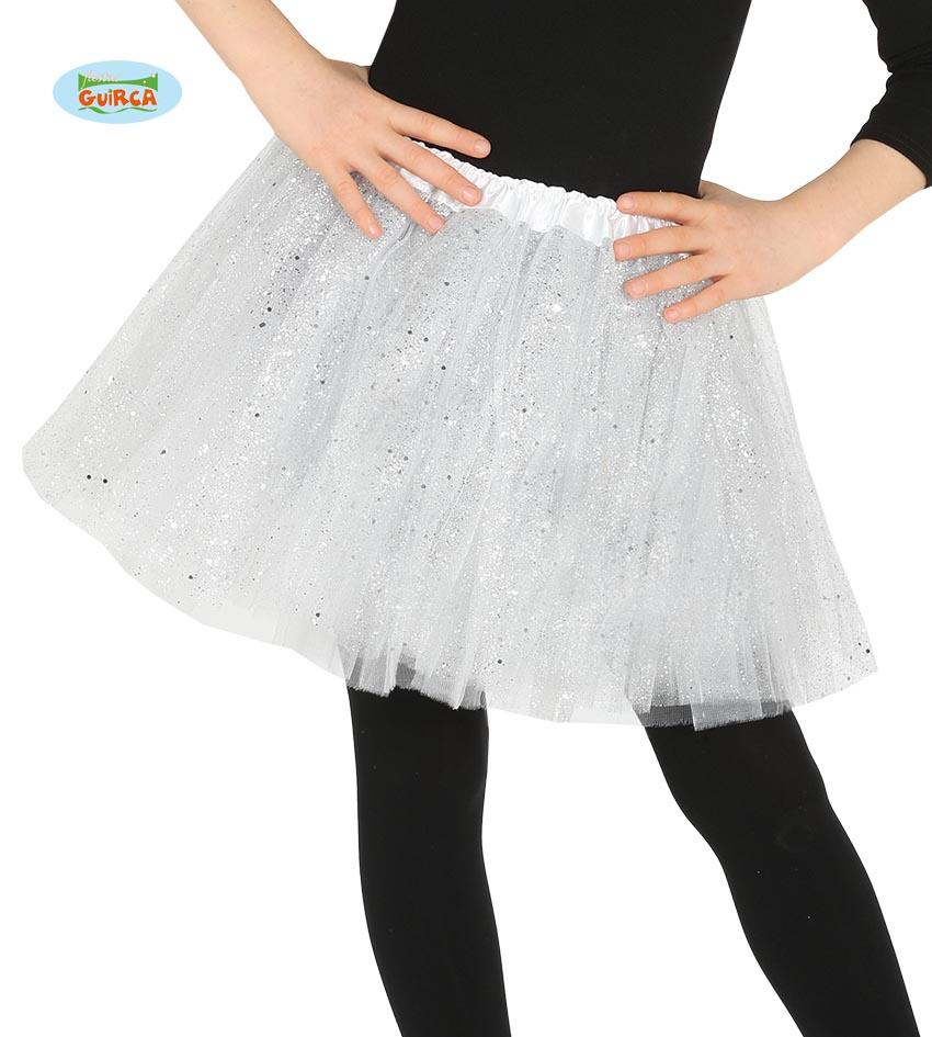 Kids Sequin Tutu White 31cm