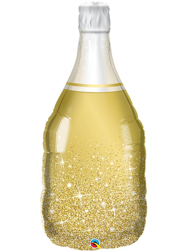 Foil Balloon Celebrate Bubbly Wine Bottle Gold Sparkle