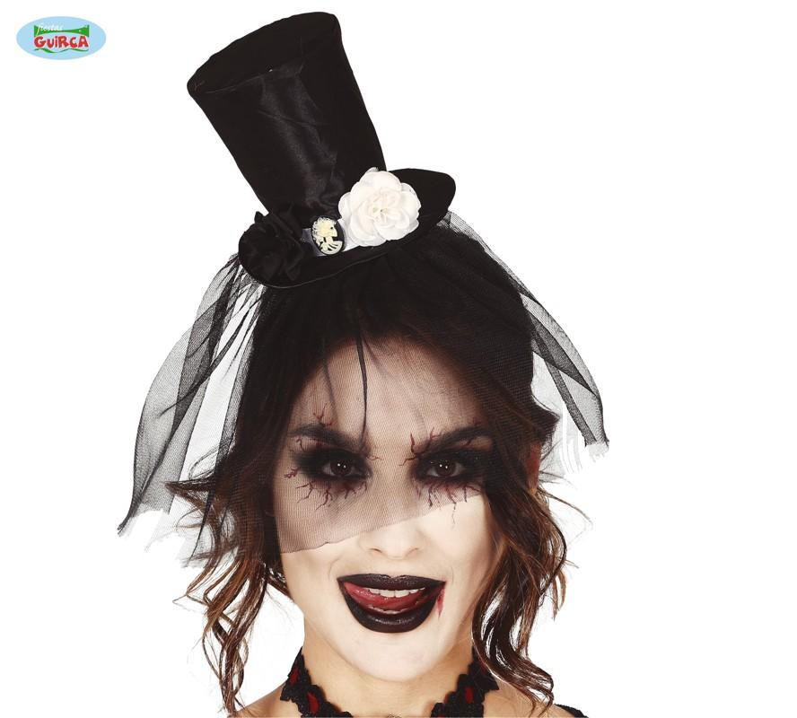 Mini Top Hat with Veil Black