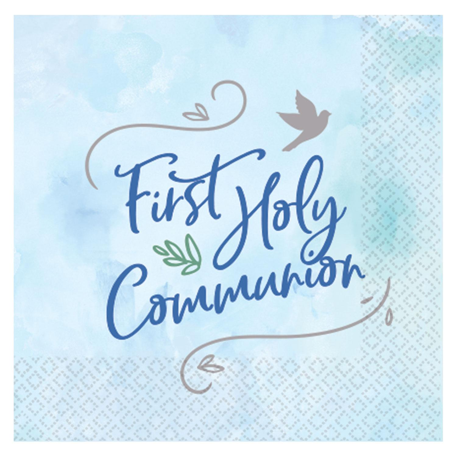 Paper Napkins First Holy Communion Blue