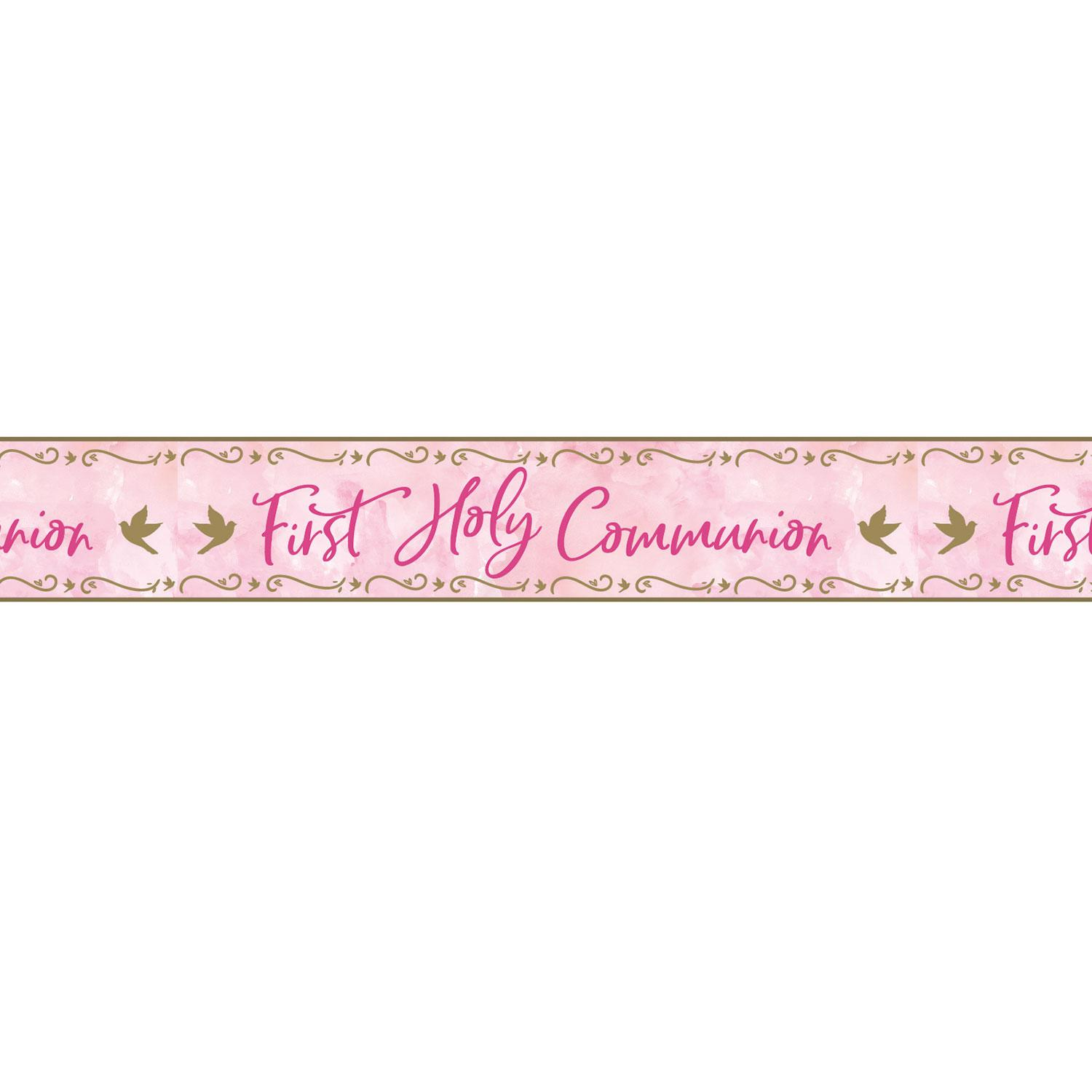 Holographic Banner First Holy Communion Pink