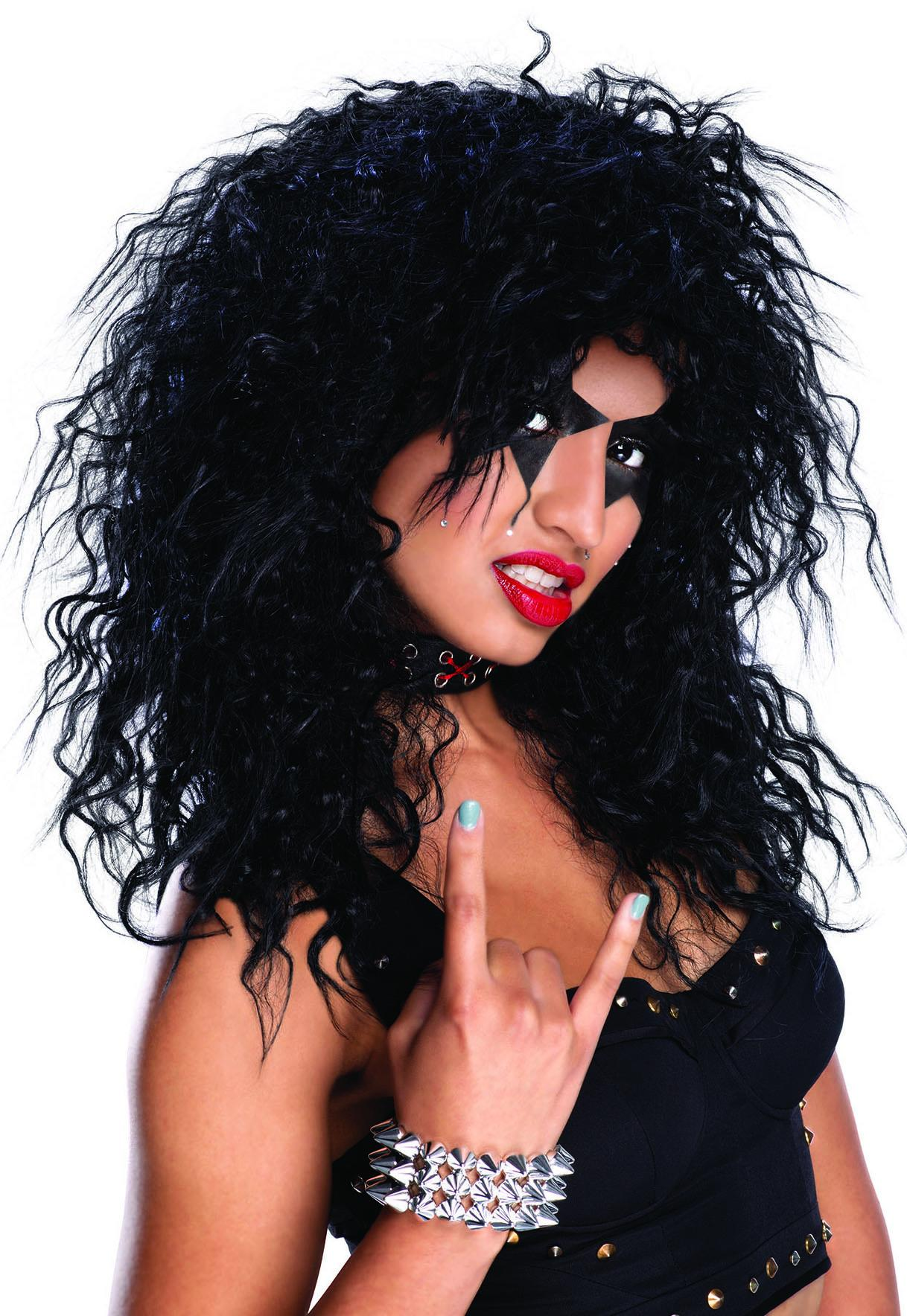 80s Hard Rocker Wig Black Unisex