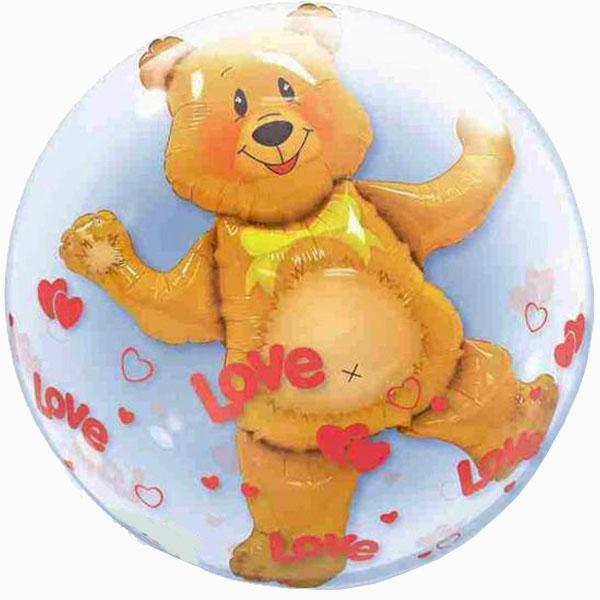 Double Bubble Balloon Love Teddy Bear