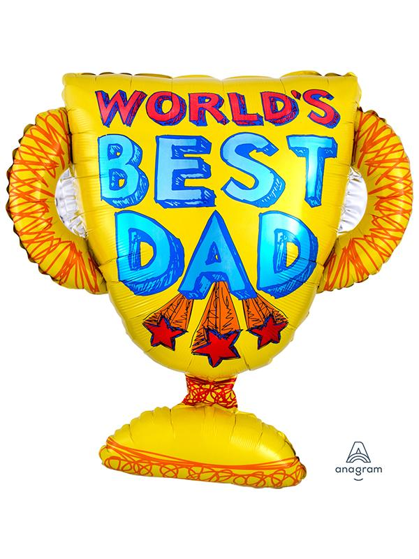 Foil Balloon Worlds Best Dad Trophy