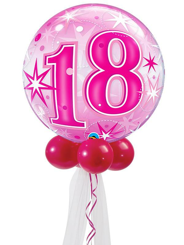 Pink Birthday Bubble Balloon Bouquet Ages 18-60