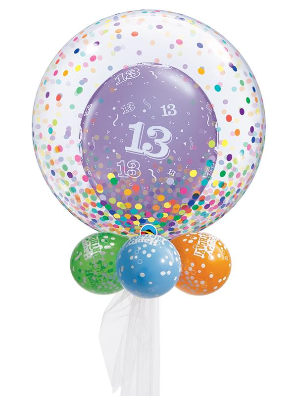 Rainbow Birthday Double Bubble Balloon Ages 13-100