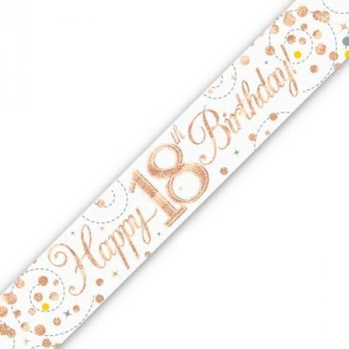 Sparkling Fizz Age 18 White & Rose Gold Holographic Banner