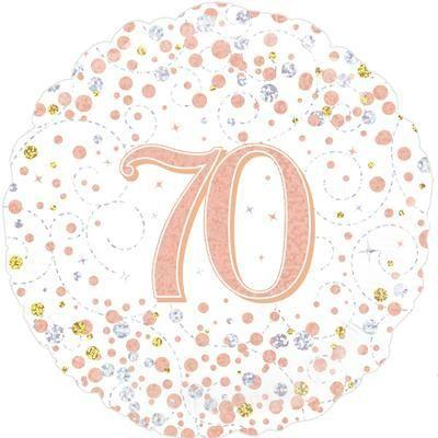 Foil Balloon Sparkling Fizz 70th Birthday White & Rose Gold