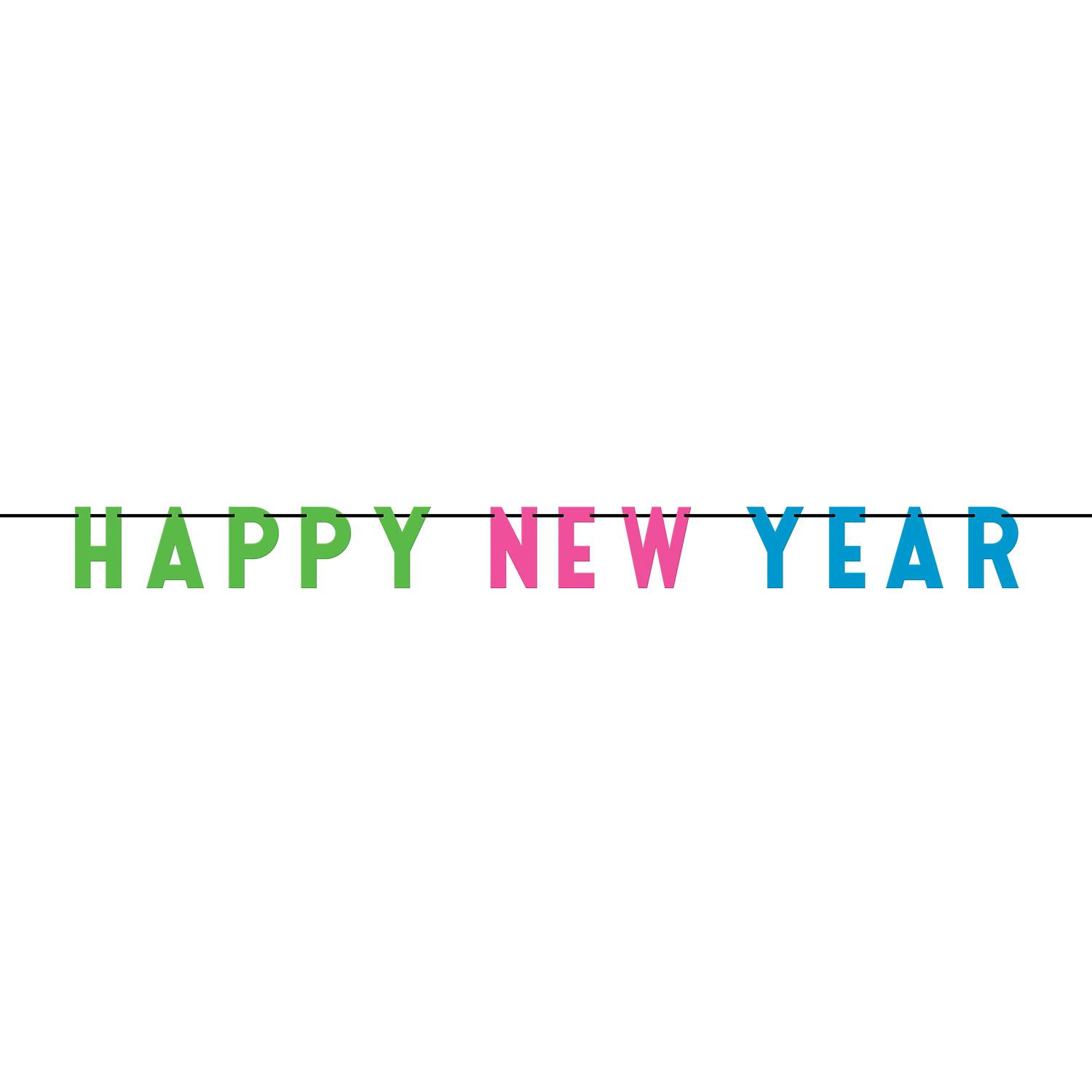 Happy New Year Letter Banner Colourful