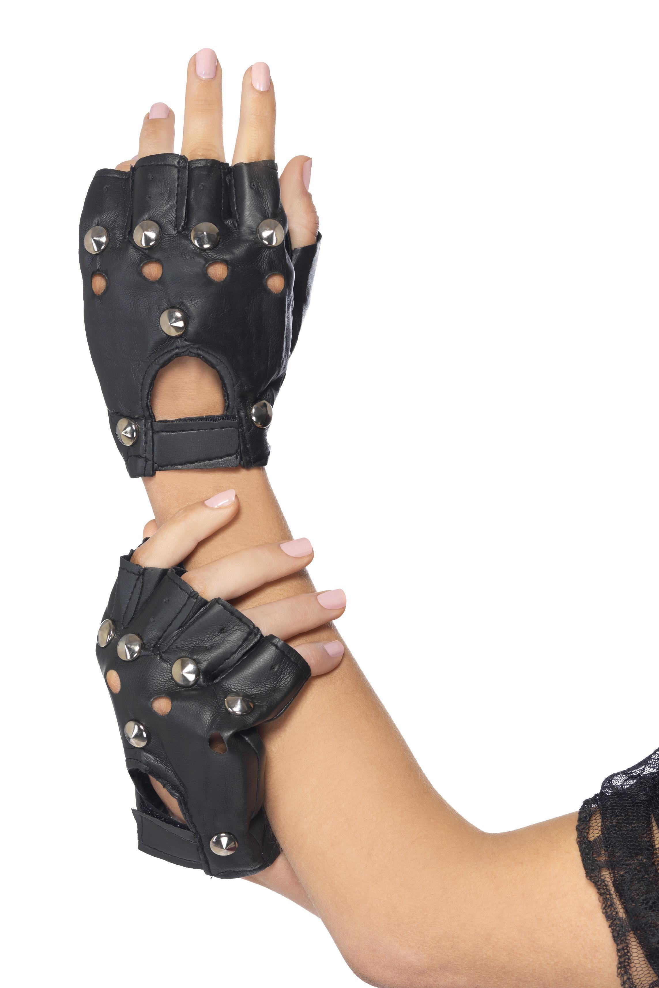 Punk Gloves Black wit studs