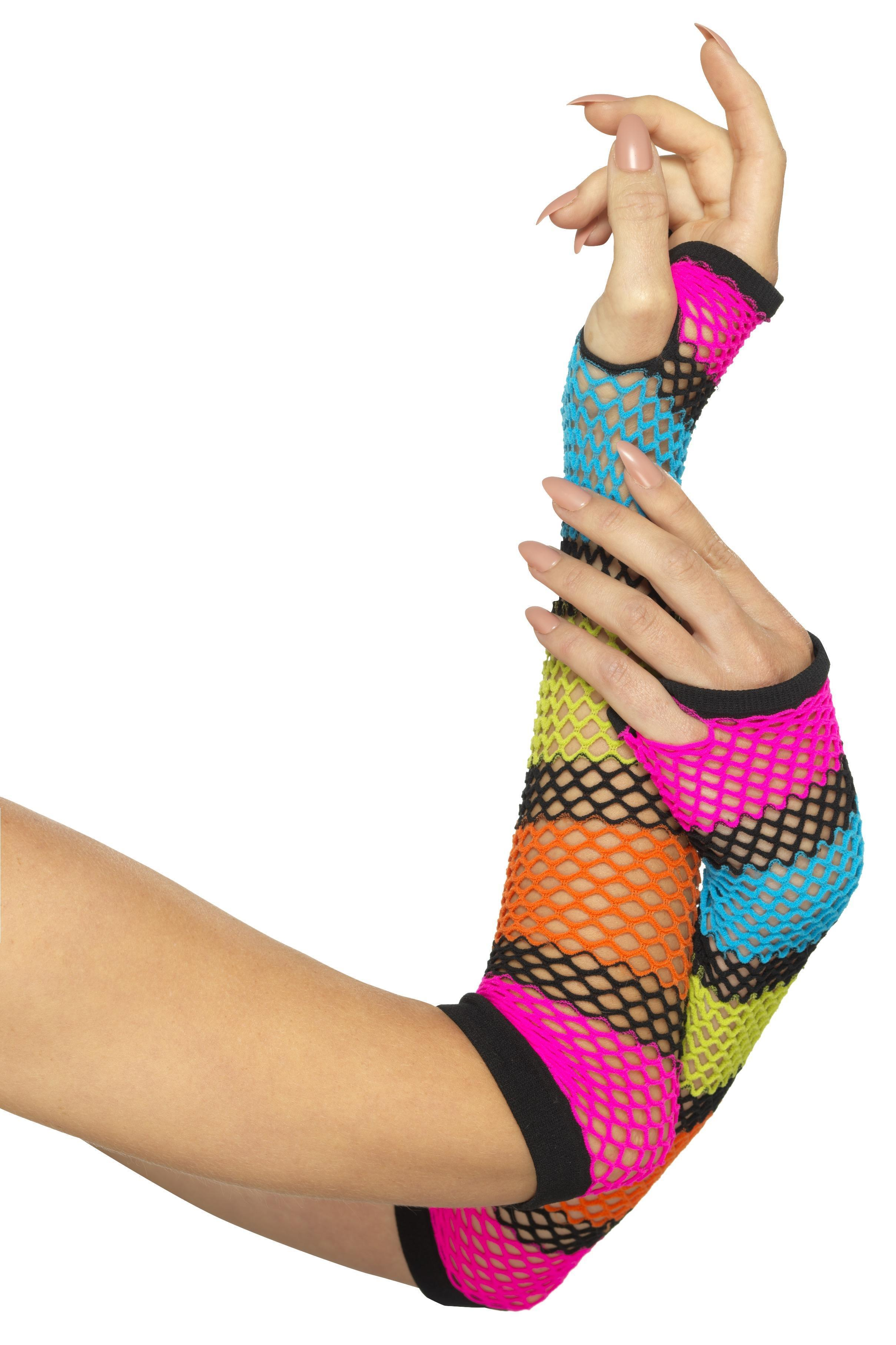 Fishnet Gloves Neon Striped