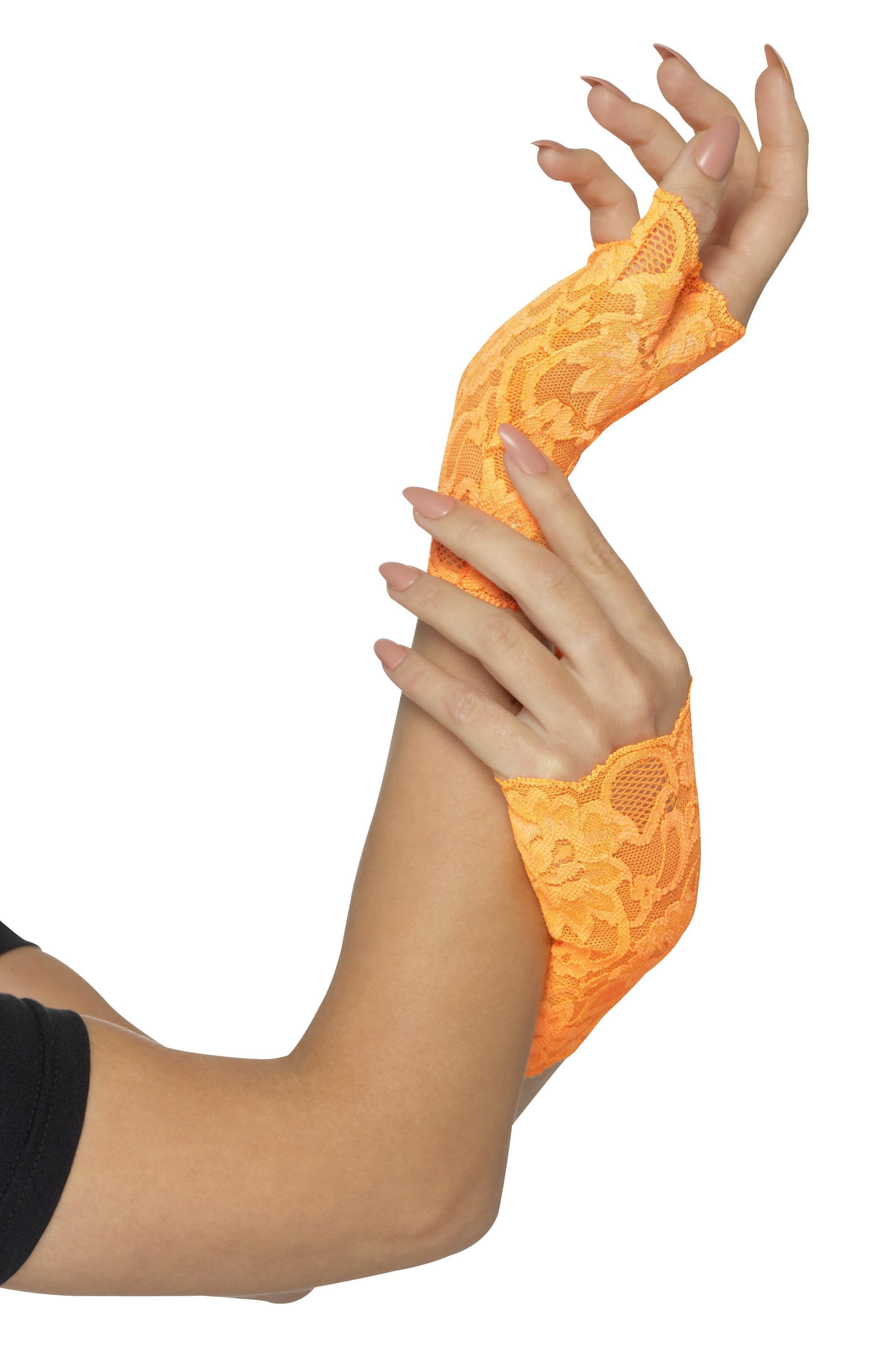 Fingerless Lace Gloves Neon Orange