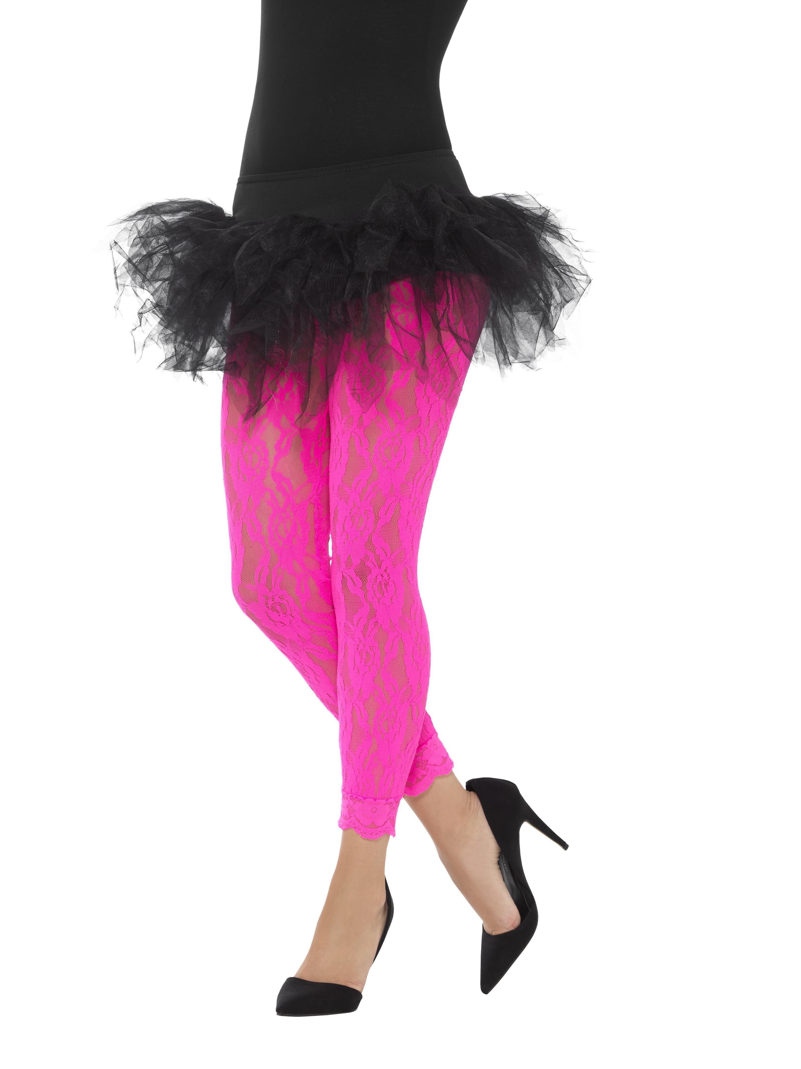 Lace Leggings Neon Pink