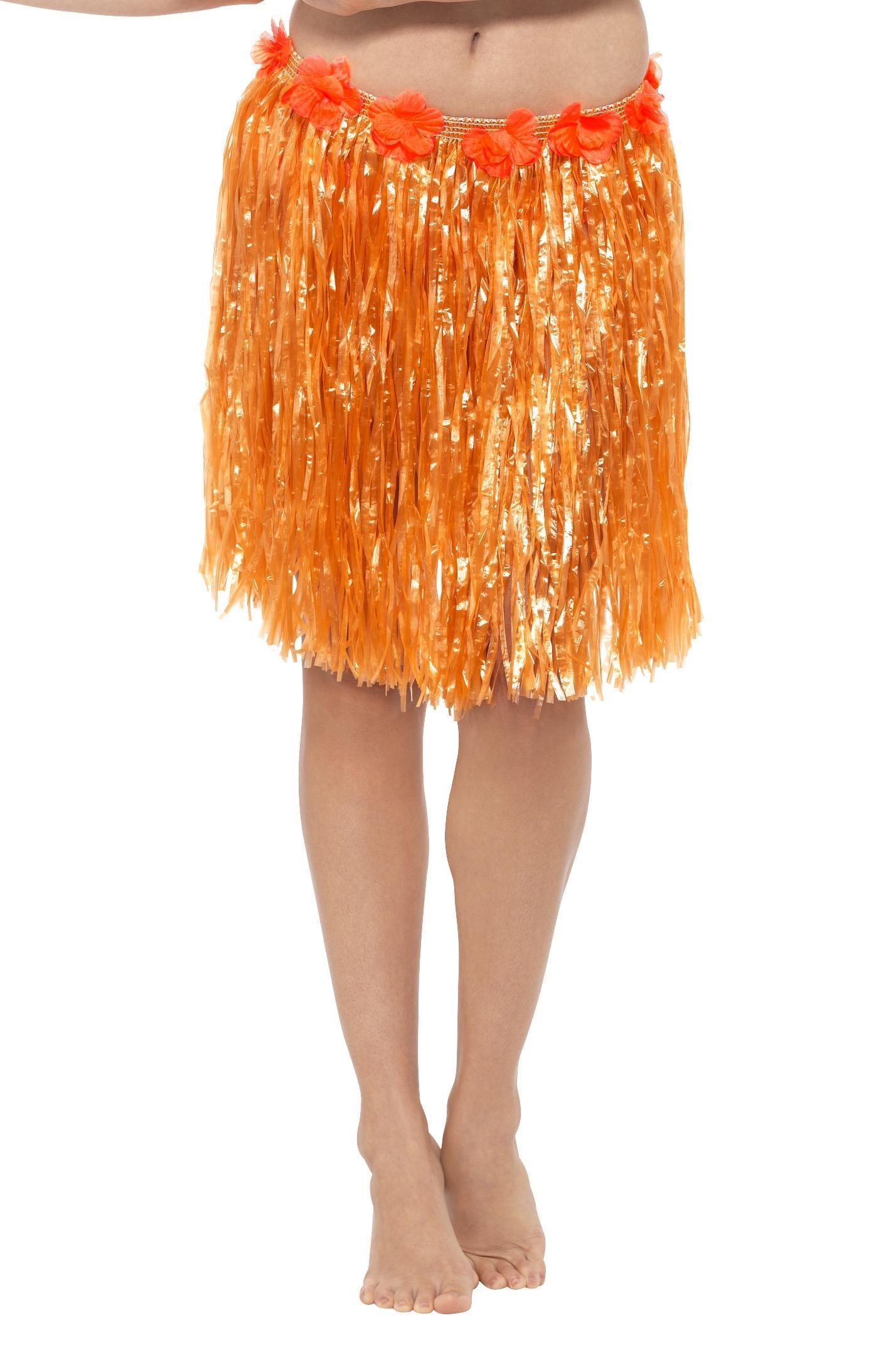 Hawaiian Hula Skirt Neon Orange
