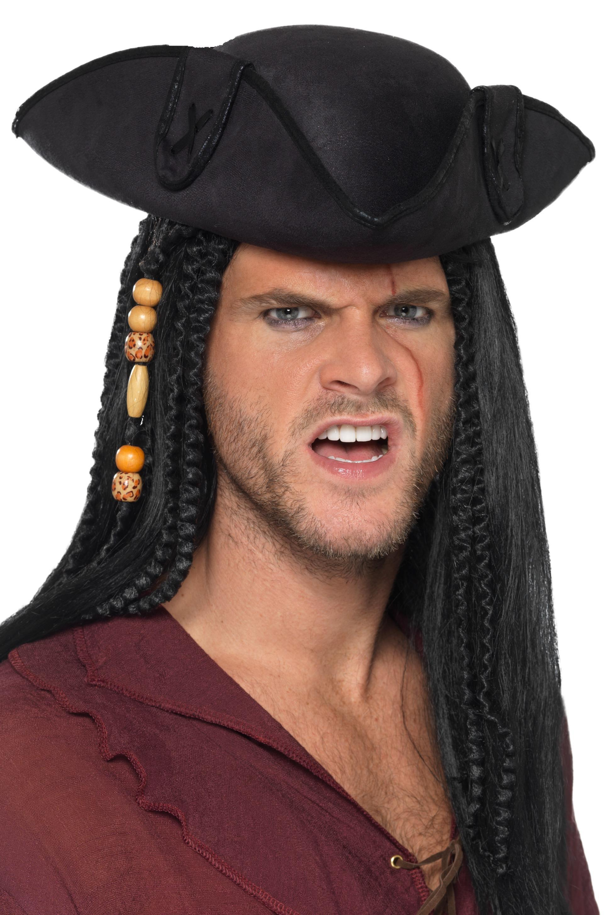 Tricorn Pirate Captain Hat Black