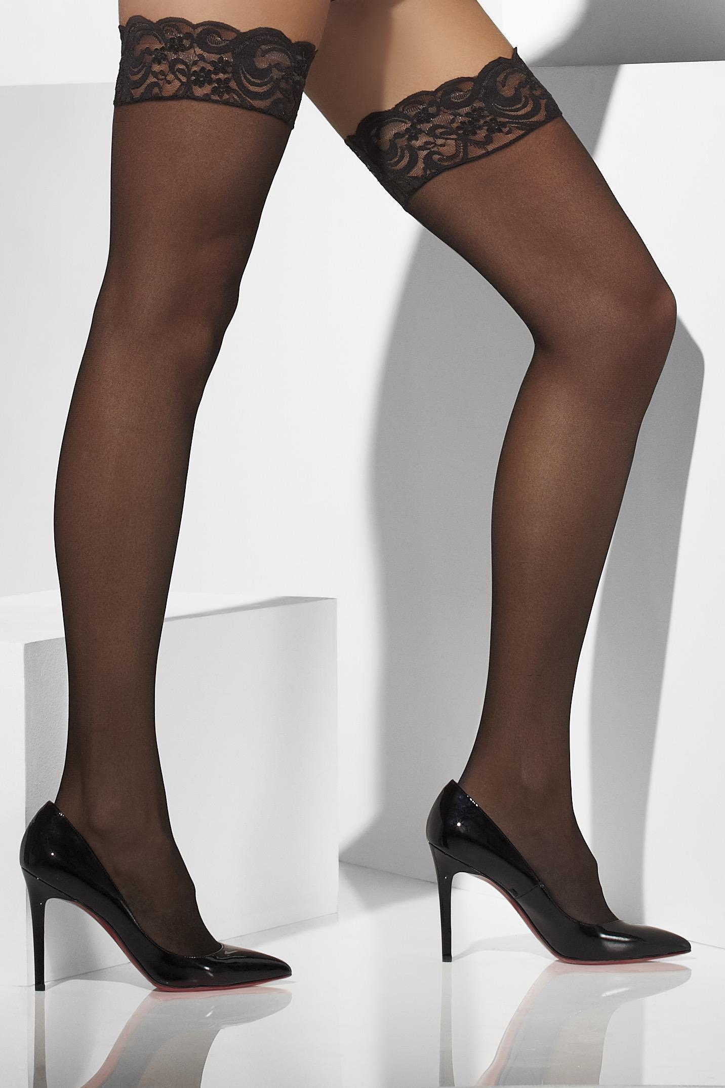 Sheer Hold-Ups Black Lace Top