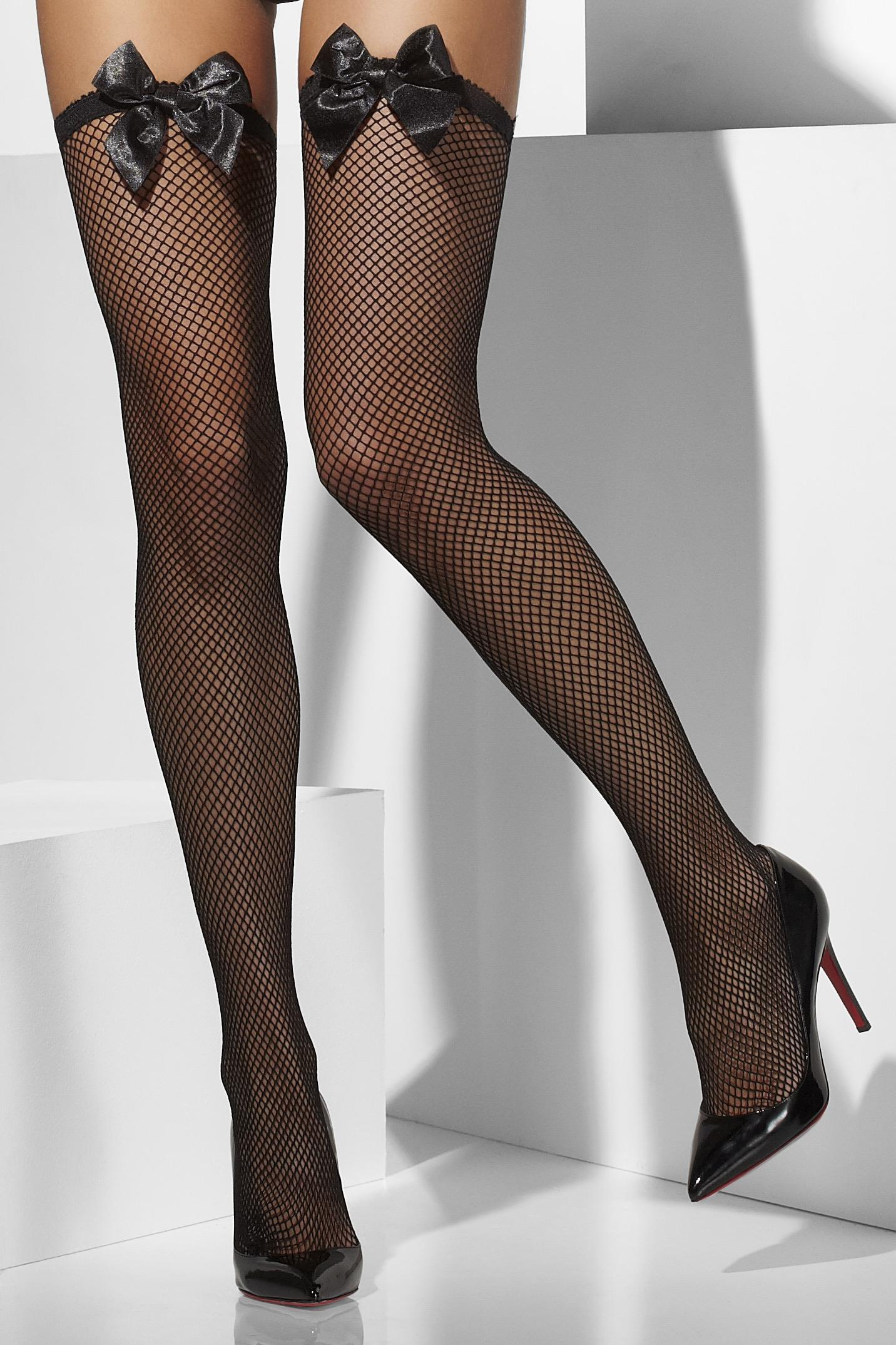 Fishnet Hold-Ups Black with Bows