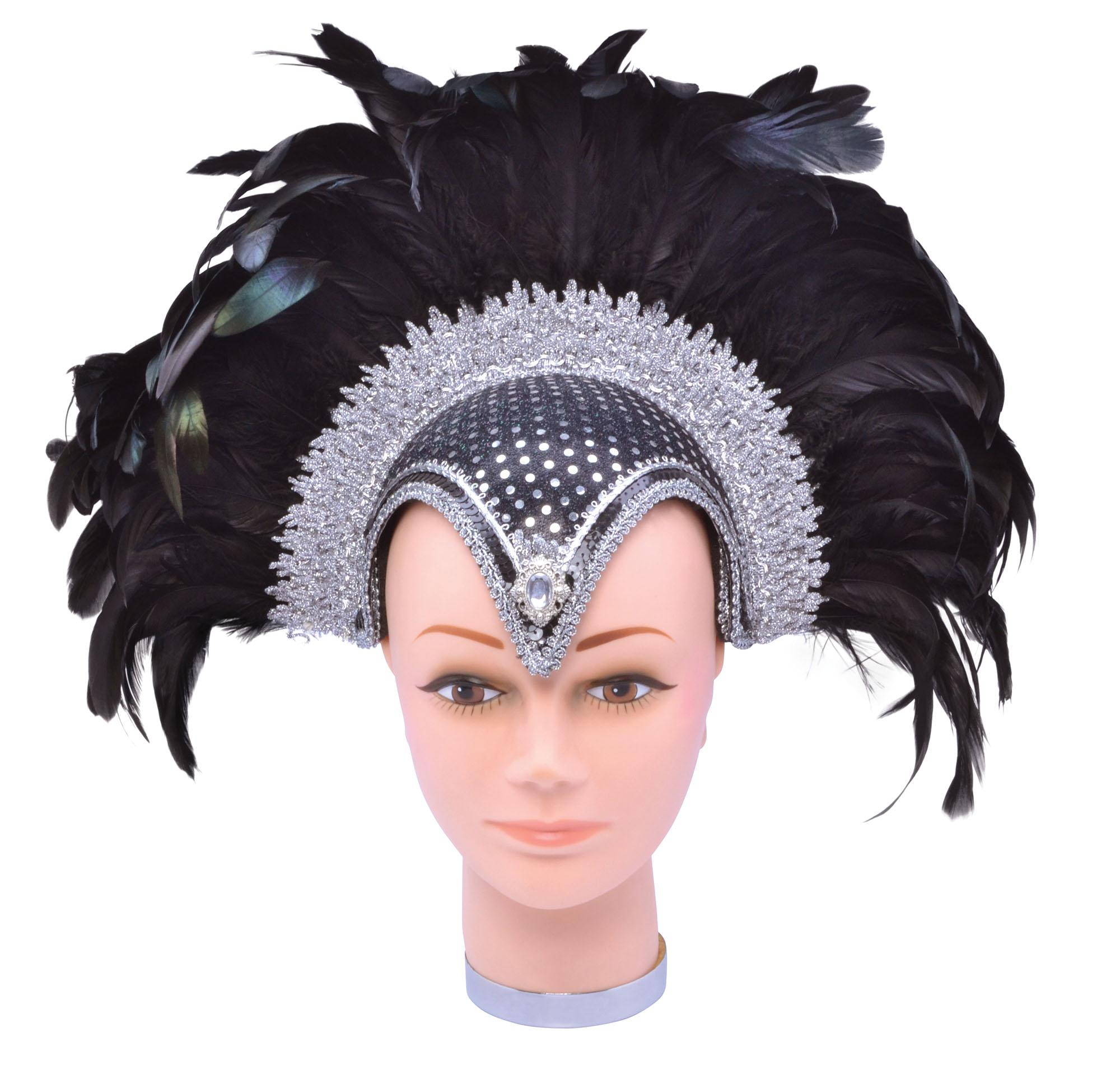 Feather Headdress Sequin Black & Silver