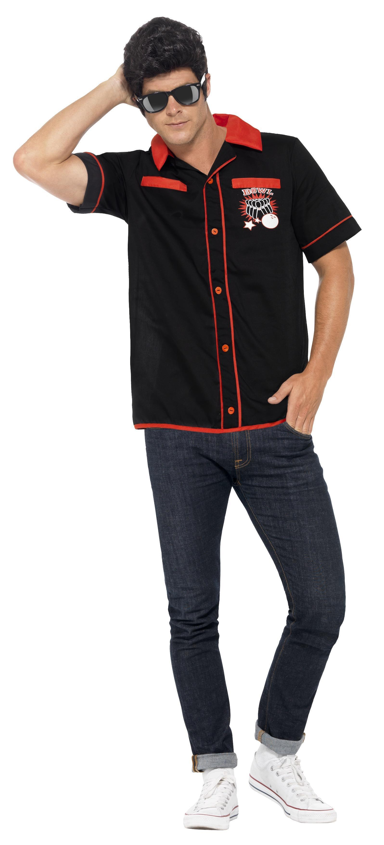 50s Bowling Shirt Black