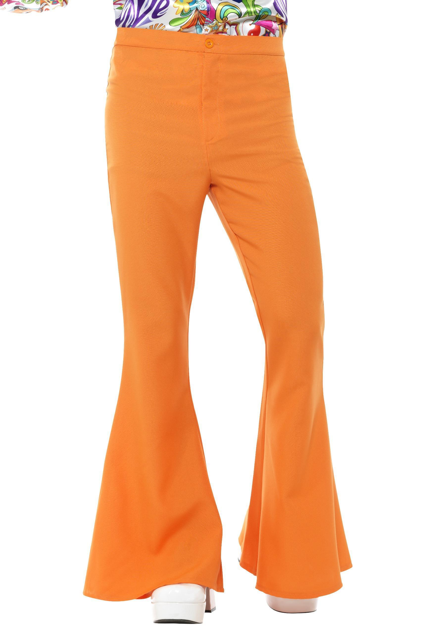 Mens Flared Trousers Orange
