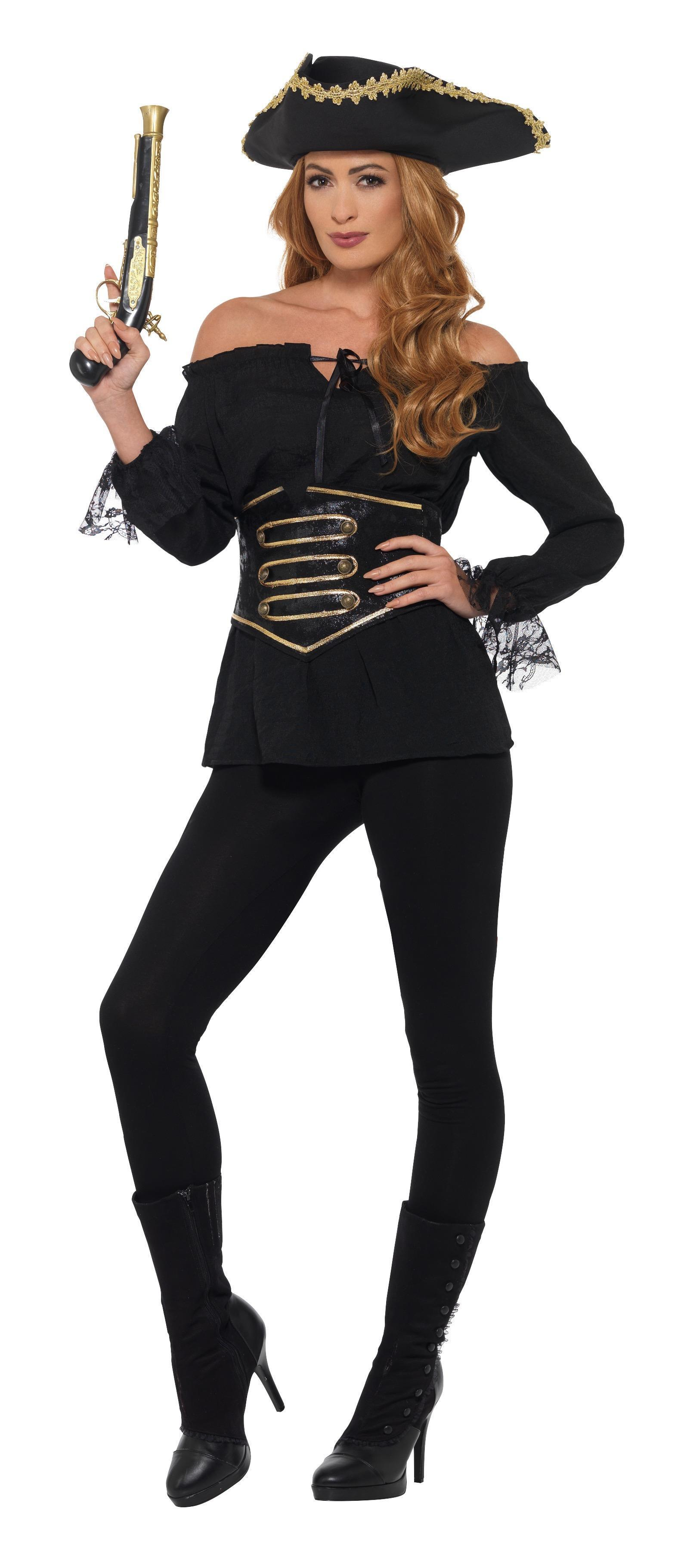 Deluxe Pirate Shirt Ladies Black