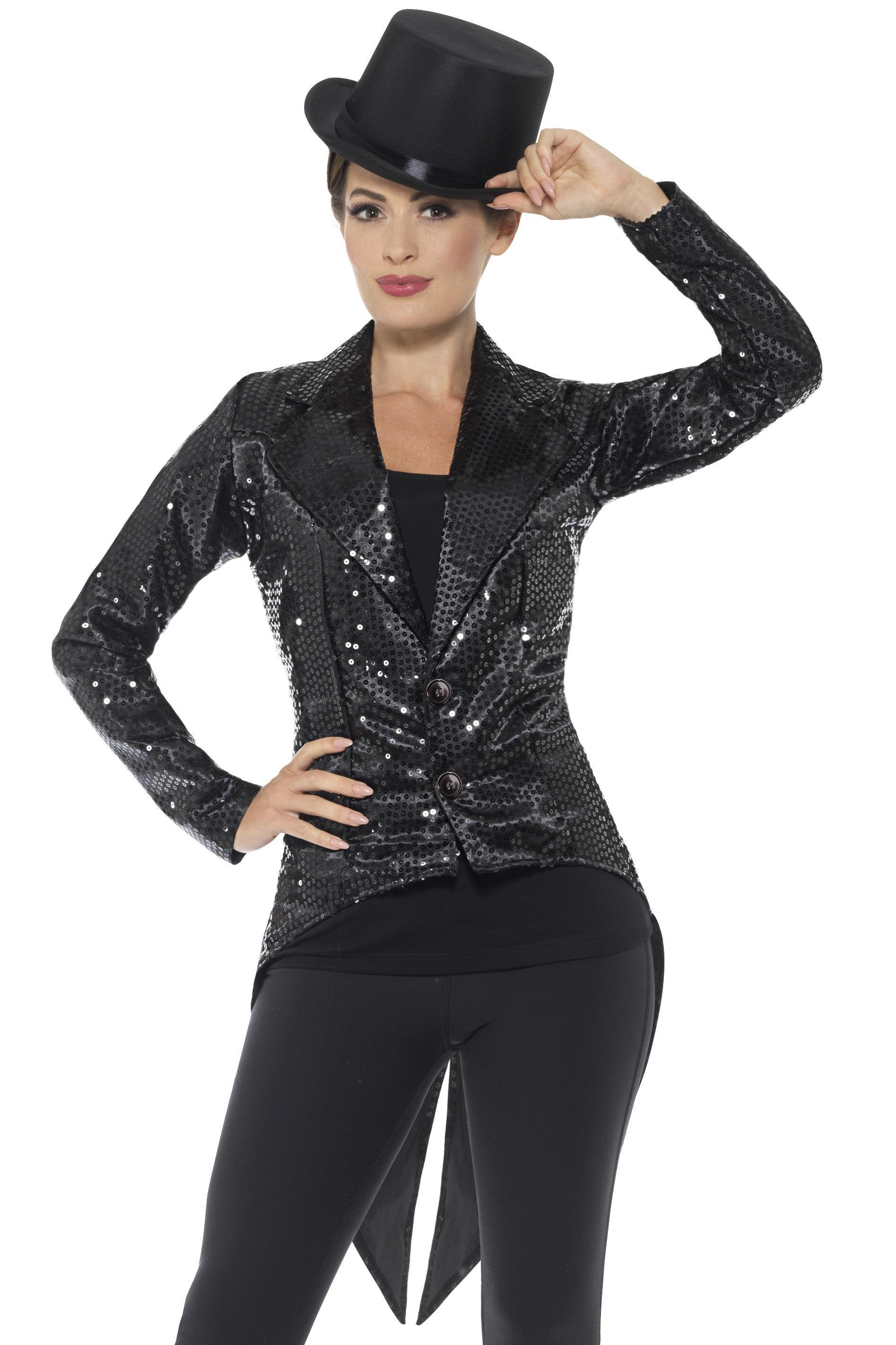 Sequin Tailcoat Jacket Ladies Black