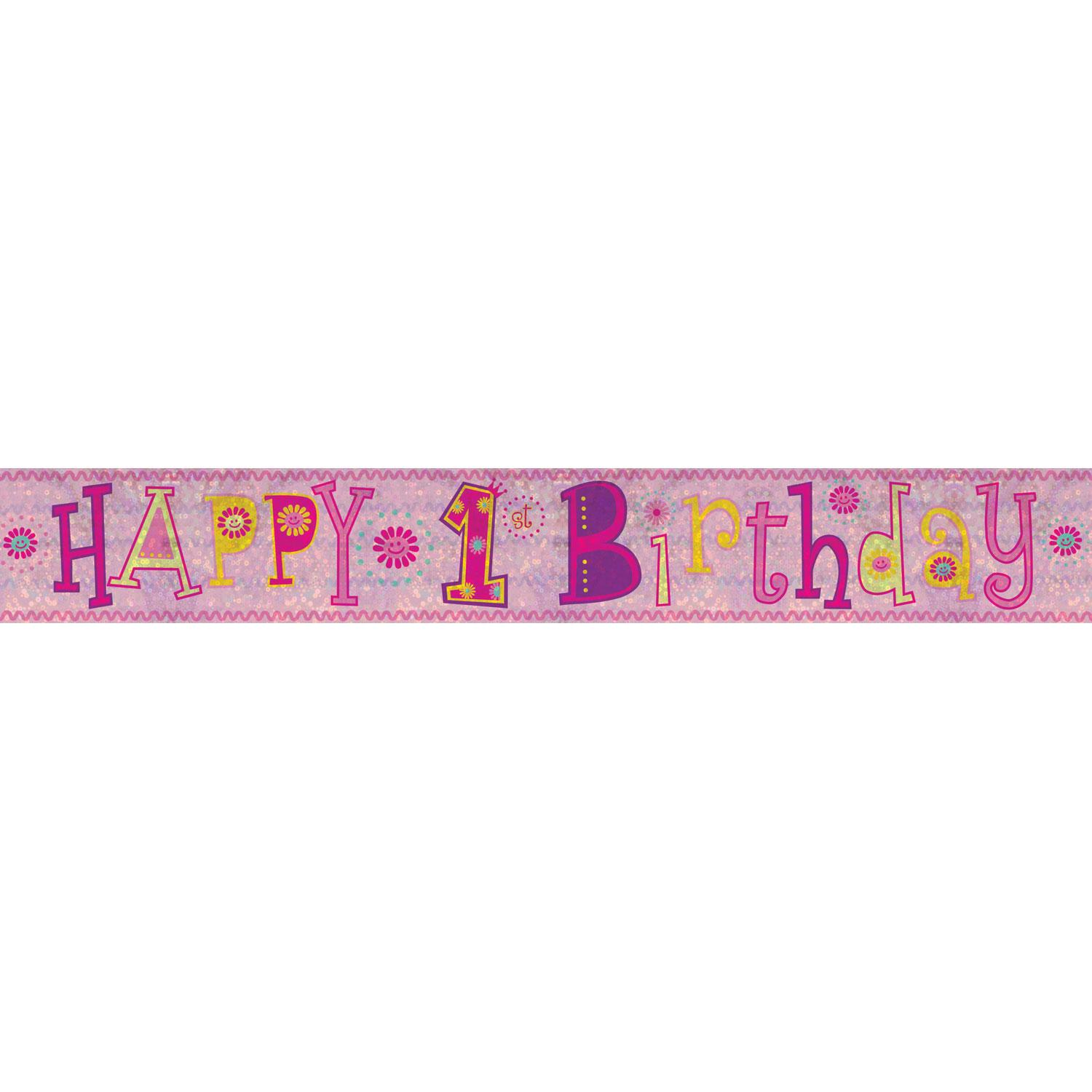 Holographic Banner 1st Birthday Pink
