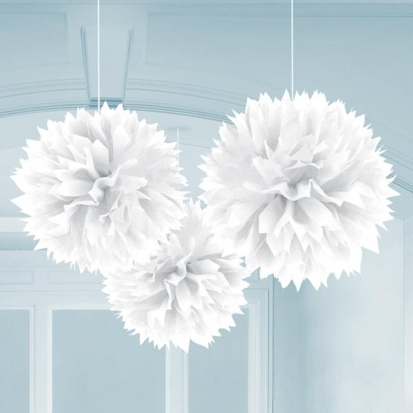 Fluffy Pom Poms Hanging Decoration White
