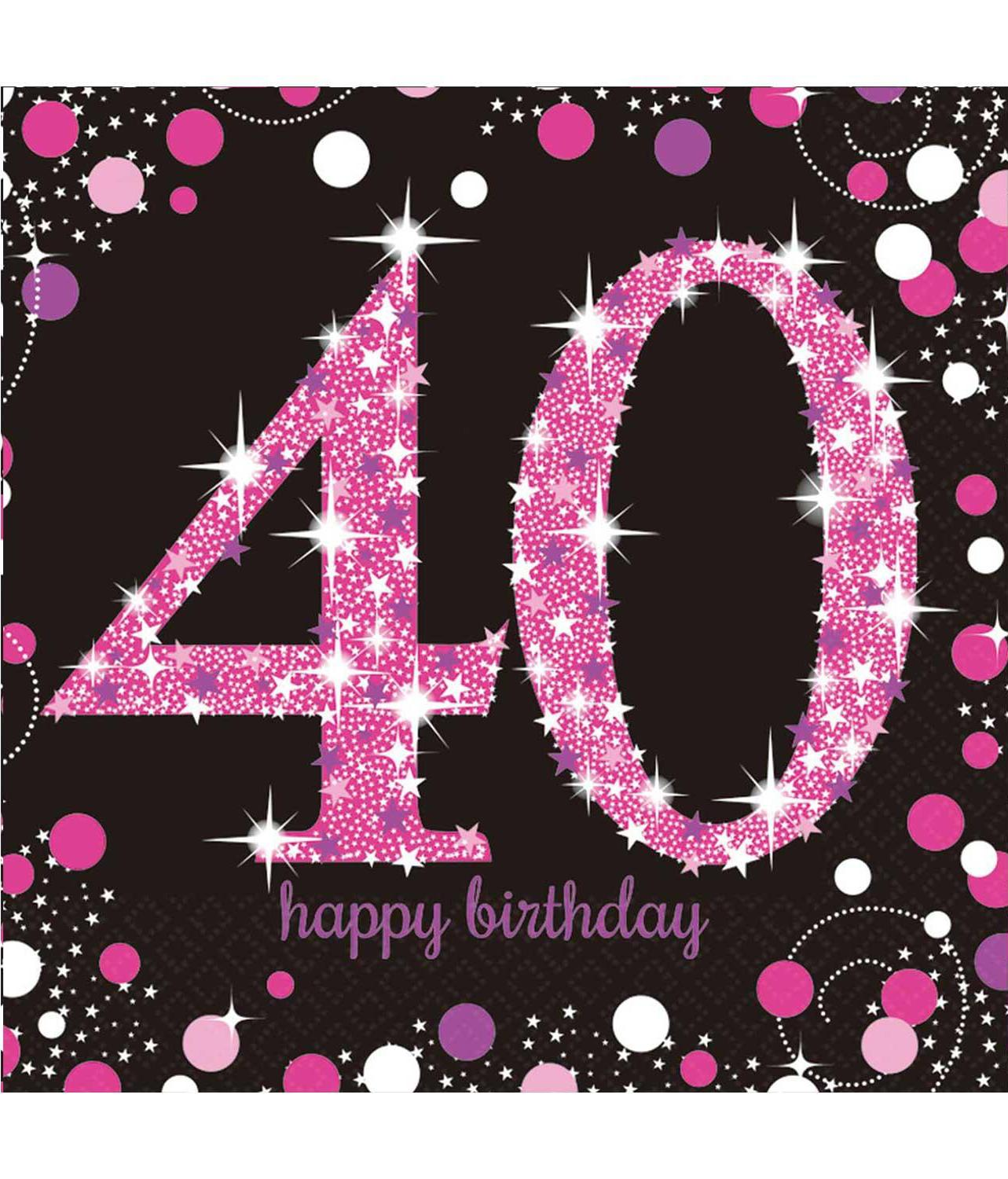 Paper Napkins 40th Birthday Pink & Silver