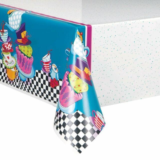 Plastic Table Cover Mad Hatter Tea Party
