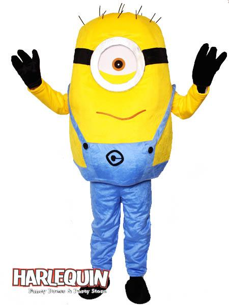 Minion Style Mascot Hire Costume One Eye