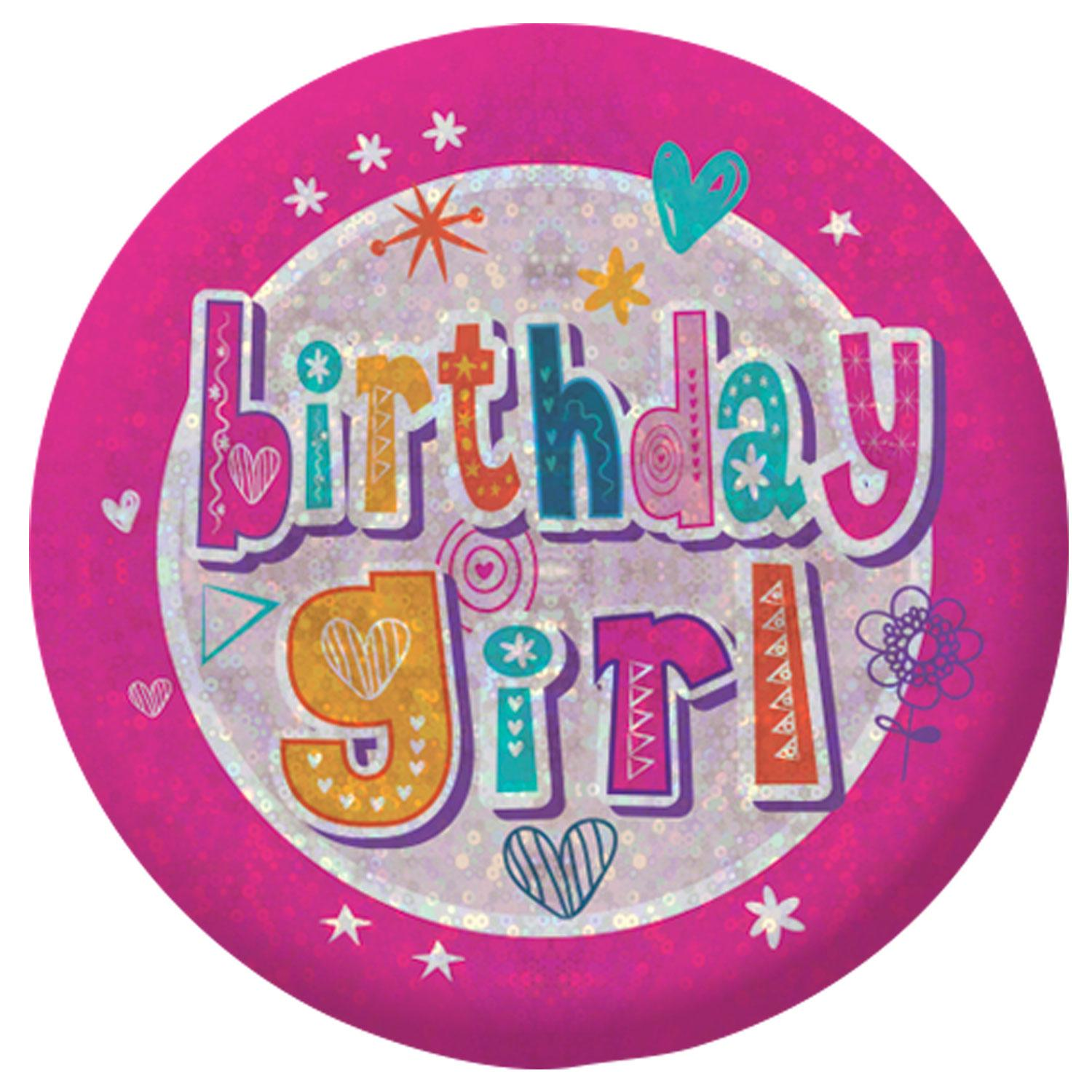 Holographic Badge Birthday Girl