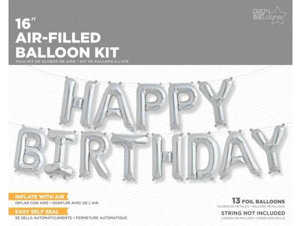 16 Inch Balloons Happy Birthday Silver Kit